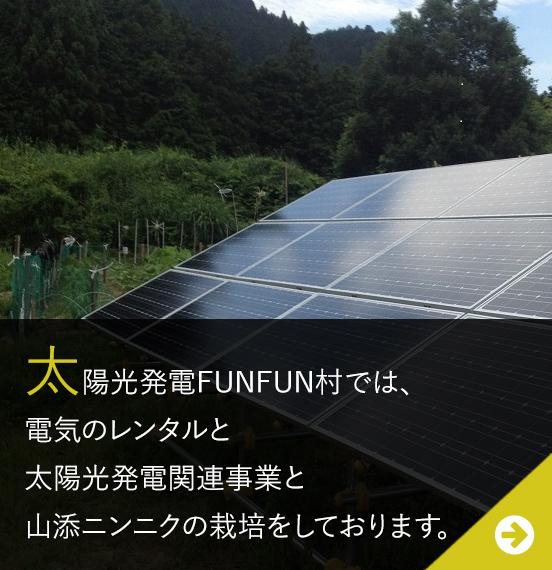 太陽光発電FUNFUN村では、太陽光発電所とパレット管理倉庫を運営しております。